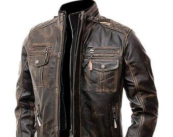 Men/'s VENDETTA VINTAGE BLUE Biker Motorcycle Fitted Lambskin Leather Jacket 7861