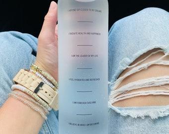 The Manifest Bottle | manifest water bottle | motivational water bottle | bottle tracker | affirmations | teachers | yoga | Bridesmaid gift