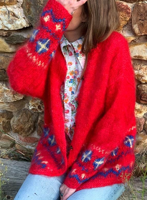 M/L Handmade Handmade Red Mohair Cardigan