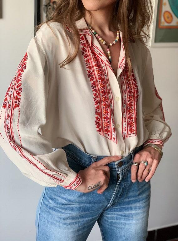 Embroidered Ukrainian silk blouse