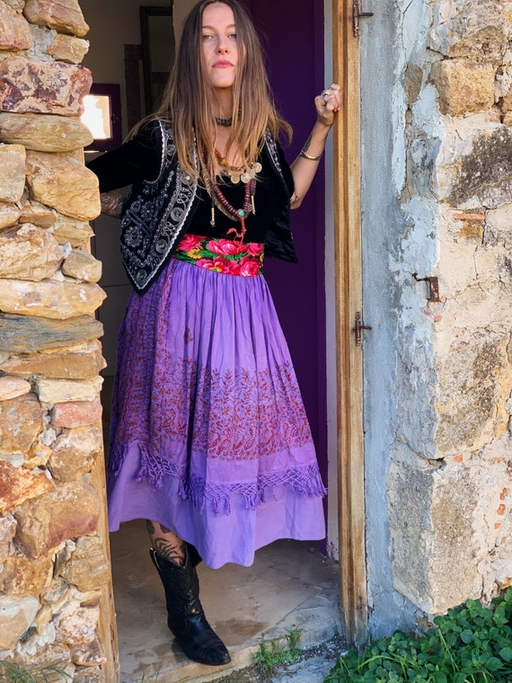 Vintage skirt 70s gypsy folk boho François Viannay