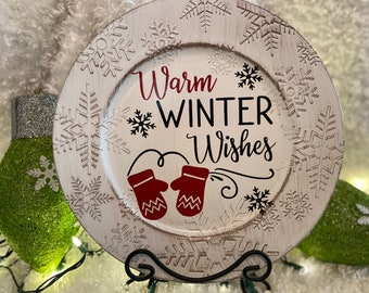 Warm Winter Wishes Snowflake Charger Plate