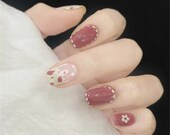Cute Hand Painting Pink Animal Parttern False Nails,Japanese Manicure,Girl 39 s Power Glue On Nails,Press On Nails,Coffin Nails,Customize Nails