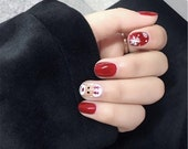 Set of 24 Hand painted Christmas Nails,Glue On Nails,Press On Nails,Fake Nails,Short Round Nails,Acrylic with all size