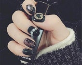 Set of 24 Hand painted Black Gemstone Nails,Glue On Nails,Press On Nails,Fake Nails,Short Round Nails,Acrylic with all size