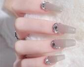 Gray Japanese Manicure,Gentle Rhinestone False Nails,Art Nails,Girl 39 s Power Glue On Nails,Press On Nails,Coffin Nails,Customize Nails