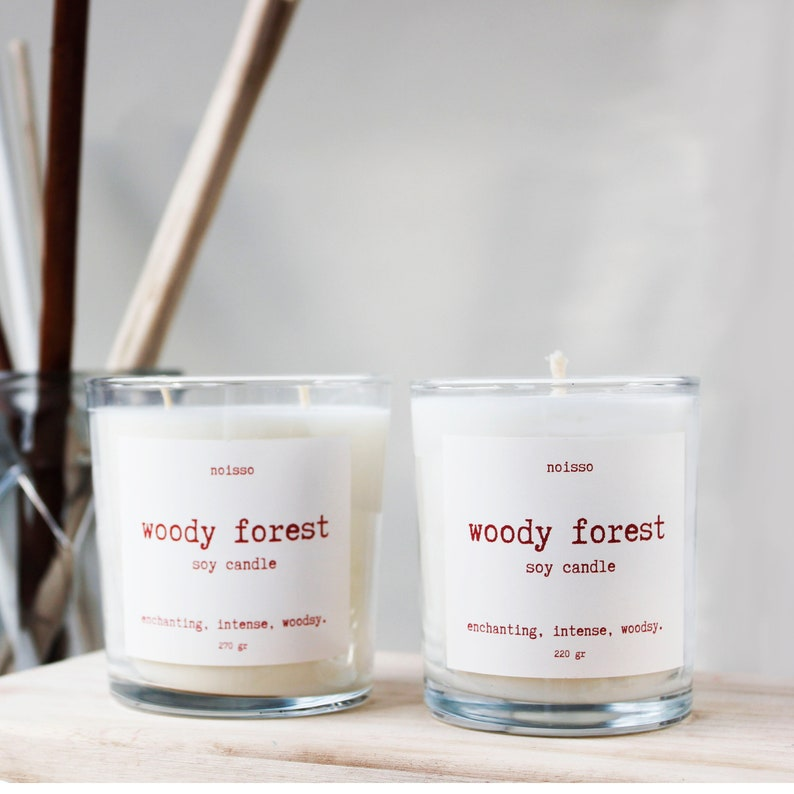 Scented Vegan Candle for living spaces  for gift Organic Woody Forest Soy Candle -220 gr- Natural Hand Poured