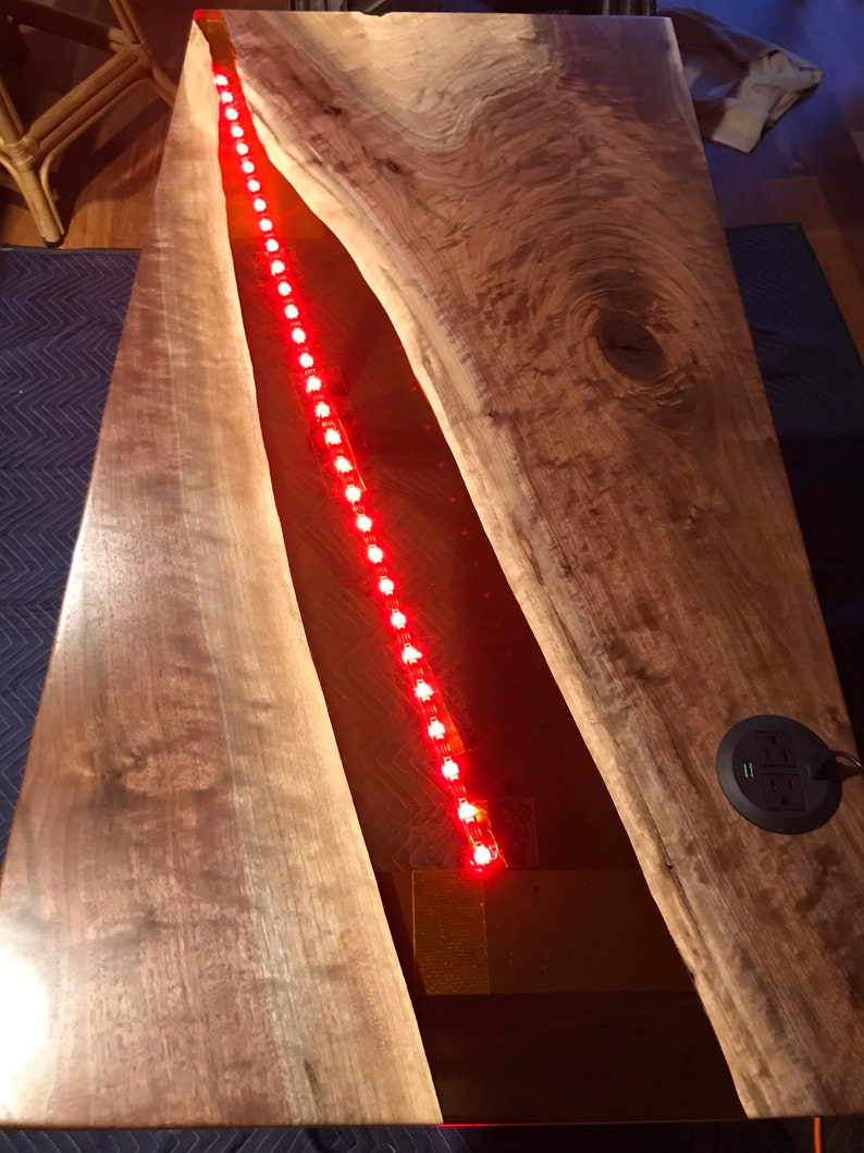 Solid Black Walnut River Table, Epoxy Resin Office Desk or Table