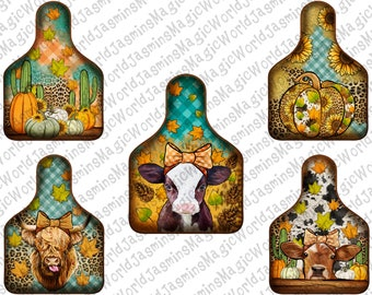 Fall Cow Tag Design Bundle,Baby Calf Cow Tag PNG, Pumpkin Cow Tag, Sublimation Design, Autumn Png, Png Sublimation Design, Instant Download
