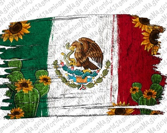 Mexican Flag with Cactus Sunflower Png, Mexican Flag Png Sublimation Designs,Mexicana Png, Instant Digital Download, Cactus Png, Sunflower,