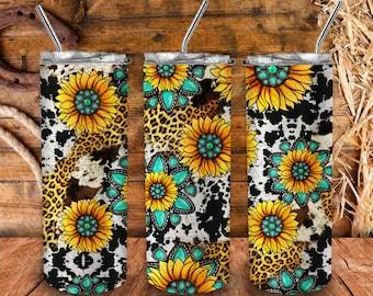 Gemstone Sunflower Cowhide Leopard 20oz Skinny Tumbler Png Sublimation Design,Gemstone Sunflower Png,20oz Western Tumbler,Digital Download