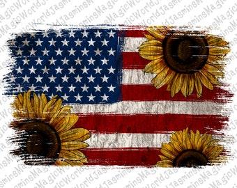 American flag and sunflower background Png,USA Flag Png Sublimation Designs Background,Rustic Shabby Backsplash Instant Digital Download Png