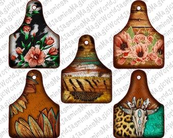 Serape Leopard Cheetah Sunflower Floral Farm Cow Tag Design Bundle,Cow Tag PNG Bundle,PNG Printable, Sublimation Download, Instant Download