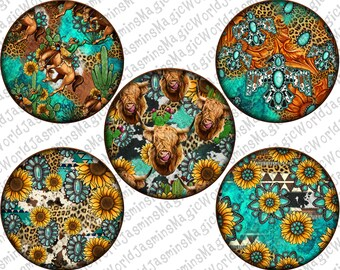Western Round Earrings Bundle Png,Car Coaster Png,Freebird Png,Rodeo Earrings,Sunflower Png,Highland Cow Png,Sublimation Png Design Download