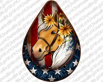 4th Of July Horse Teardrop Earrings Png, 4th Of July Png, American Horse Png,Digital Download,Png Sublimation, Usa Horse with Sunflower png