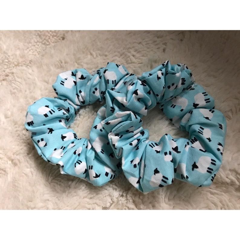 Mother/'s Day Gift Hair accessory Blue Sheep Scrunchie lockdown gift Handmade Birthday Gift