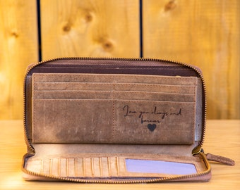 Gift For Her Mother/'s Day Gift Gift Box RFID Blocking Purse Handmade Personalised Real Leather Women/'s WalletPurse Card Slots