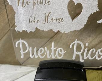No Place like Home Nightlight Wall Plug in/ Puerto Rico / Plug In Night Light / Custom Engraved Acrylic Night Light / Latina / Hispanic