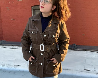 Brown Corduroy Jacket 70s Quilted Lining Jacket Fall Coat Boho Hippie Vintage Collared Coat Bohemian Extra Small xs