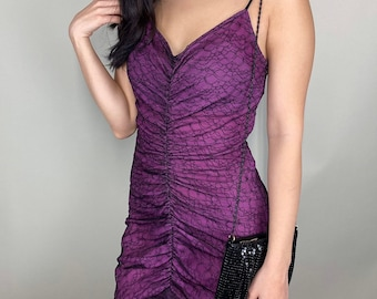 Betsey Johnson black & purple lace ruched cocktail dress