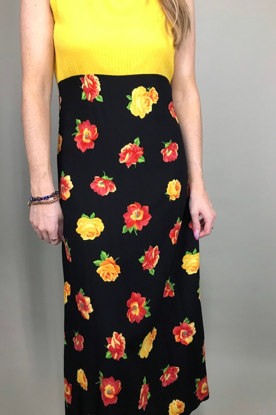 90's Yellow & black floral maxi sun dress