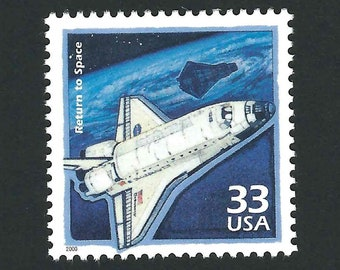 5 Return to Space Vintage Unused USPS Postage Stamps 33c 2000 Scott 3191h Mail Art, Space Shuttle Discovery, Celebrate the Century, CTC