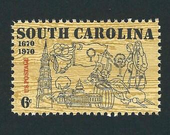 10 South Carolina Unused Vintage USPS Postage Stamps FV: 6c Year 1970 Scott 1407, Brown, Mail Art, Weddings