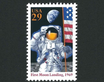 10 First Moon Landing Unused Vintage USPS Postage Stamps 29c Year 1994 Scott 2841, Mail Art, First Man on the Moon