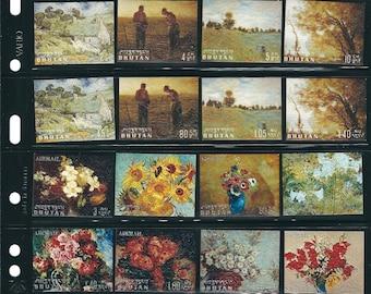 24 BHUTAN Original Embossed Unused Vintage Postage Stamps of Paintings. Flower Stamps, Arts and Crafts, Scrapbooks, Journals, Collectors