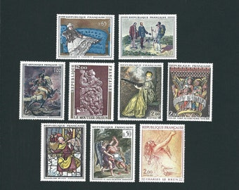 9 FRANCE Original Unused MH Vintage Postage Stamps Set #5. Arts and Crafts, Scrapbooks, Collage, Collectors, Stamp Exchanges, French Art