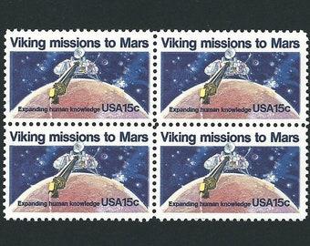 20 Viking Missions to Mars Unused Vintage USPS Postage Stamps 15c (5 blocks of 4). Year 1978 Scott 1759 Space, Mail Art, Blue