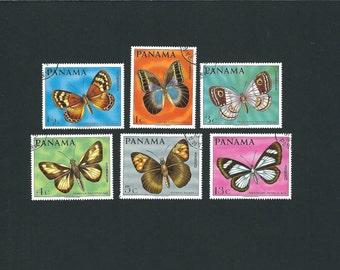 6 PANAMA Original CTO Butterflies Vintage Postage Stamps Set. Arts and Crafts, Scrapbooks, Collage, Collectors, Stamp Exchange, Ephemera