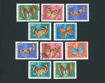 10 HUNGARY Original USED Vintage Postage Stamps Butterflies and Moths Set. Arts and Crafts, Scrapbooks, Collage, Collectors, Stamp Exchanges