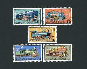 5 HUNGARY Train Railroad USED Original Vintage Postage Stamps from 1972. Arts and Crafts, Scrapbooks, Collage, Collectors, Stamp Exchanges