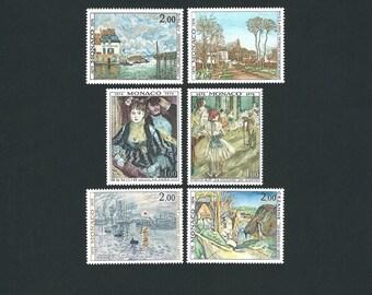 6 MONACO Original Unused MH Impressionists Paintings Vintage Postage Stamps Set #1. Arts and Crafts, Scrapbooks, Collage, Collectors