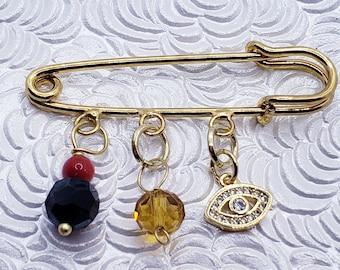 Pacifier Pin for Children Baby Jewelry Jet Gold Layered baby pin Cross 18kt Brazilian Gold Layered  Azabache y Cruz