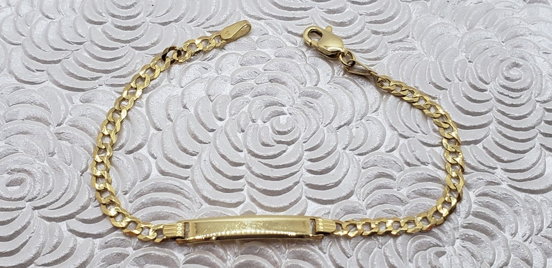 10K Gold Baby ID Bracelet Square Plate FREE Hand Engraving Available Smooth Protective Jewelry