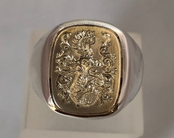 Solid signet ring with beautiful coat of arms made of 925 silver