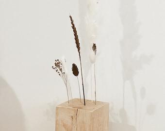 "FlowerBar CUBE ""Dream Dancer"" Dried Flowers Flowergram & noble oak, wood arrangement, dried flowers, durable"