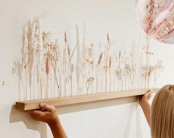 "Flowerbar ""Sugar Wadding"" Dry Flowers Flowergram & Noble Oak, Wooden Arrangement, Dried Flowers, Durable"