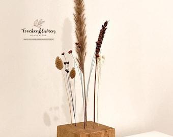 "FlowerBar CUBE ""Gold Right"" (10 cm x 10 cm x 10 cm) Dried Flowers Flowergram & noble oak, wood arrangement, dried flowers, durable"