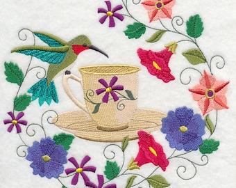 Time for Tea with Hummingbird Embroidered Towel Flour Sack Towel Kitchen Towel Hand Towel Tea Towel Dish Towel Bird Embroidery