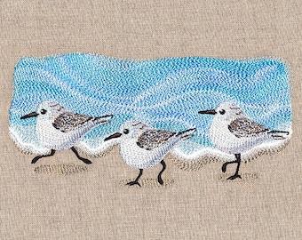 Oceanside Sandpiper Border Embroidered Towel Flour Sack Towel Kitchen Towel Hand Towel Tea Towel Bathroom Dish Towel Bird Embroidery