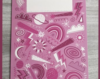 Pink sky - A5 greeting card