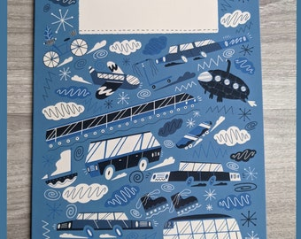 Trains, planes and everything in between - A5 greetings card