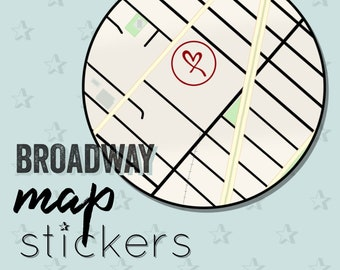 Broadway Theatre Map Stickers - New York Musical Theater + Times Square Location Sticker