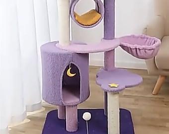 Starry Night Cat Tree Tower, Cat Climbing Frame, Luxury Cat Condos Hammock Bed, Modern Cat Wood Furniture Perch, Cat Scratcher Post
