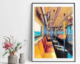 NYC Subway - 1  One Train Vintage Poster | Instant Digital Download| Printable