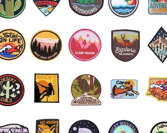 Patch for ironing   Outdoor Mountains Nature Patches or Patch Ironing Pattern for Clothing or Textiles   Vintage Retro Patches