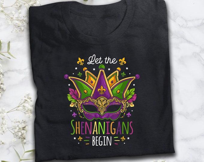 Mardi Gras Costume Let The Shenanigans Begin Mask T-Shirt
